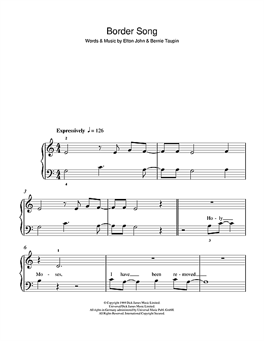 Border Song Sheet Music