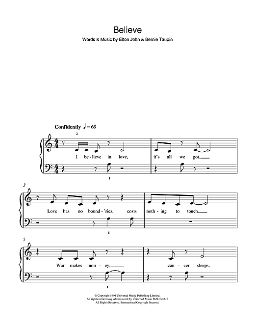Believe Sheet Music