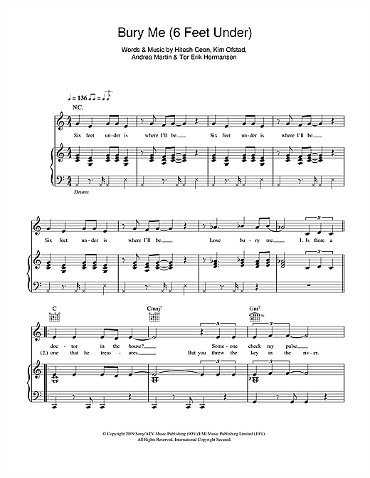 Bury Me (6 Feet Under) (Piano, Vocal & Guitar (Right-Hand Melody))