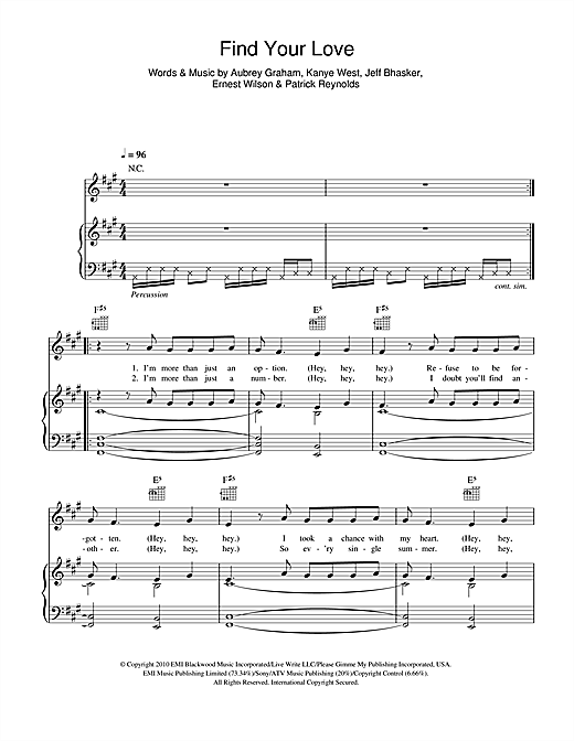 Find Your Love Sheet Music
