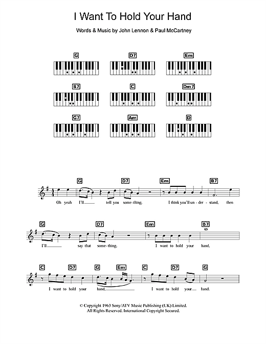 Partition piano I Want To Hold Your Hand de The Beatles - Synthétiseur