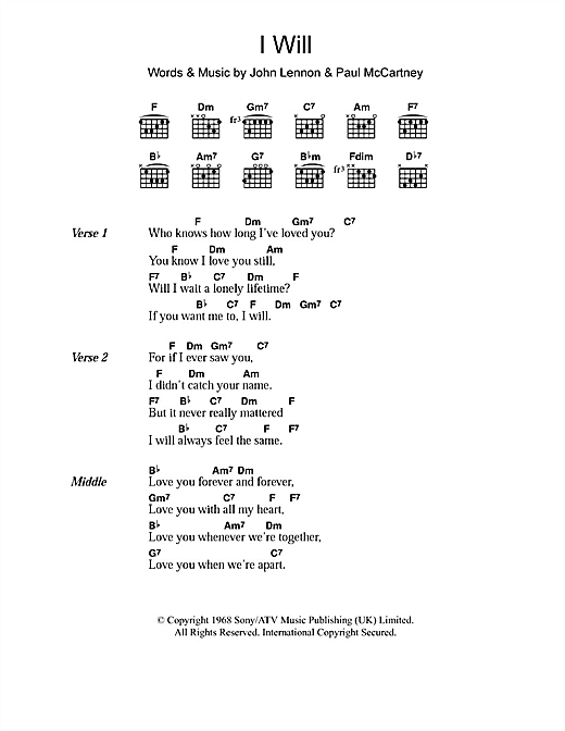 I Will sheet music by The Beatles (Lyrics & Chords – 103162)
