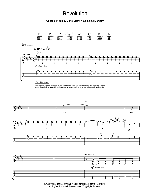 Tablature guitare Revolution de The Beatles - Tablature Guitare