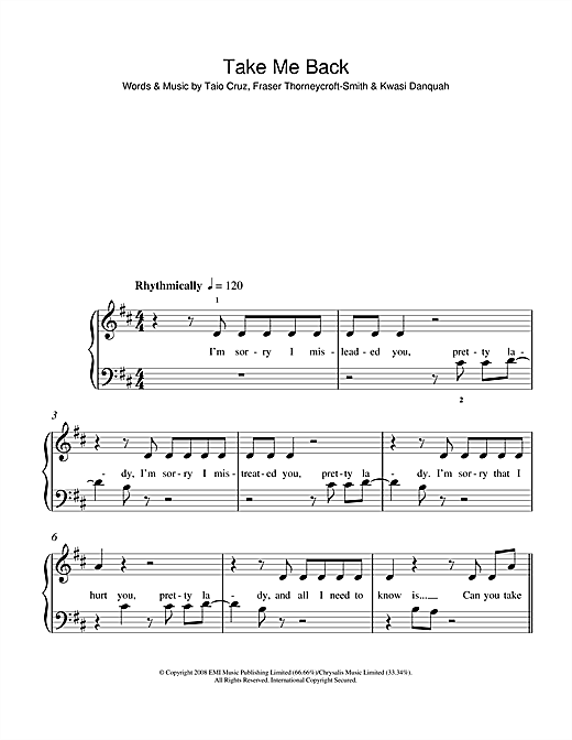 Take Me Back (feat. Taio Cruz) Sheet Music