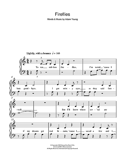 Fireflies Sheet Music By Owl City 5 Finger Piano 103207