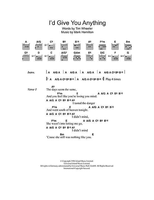 I'd Give You Anything (Guitar Chords/Lyrics)