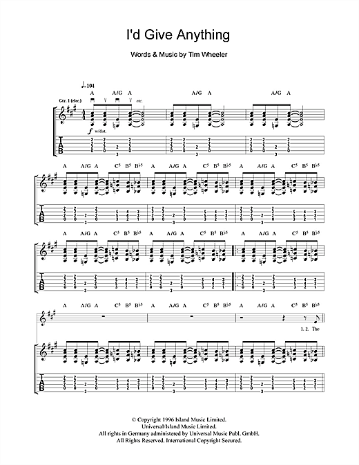 Tablature guitare I'd Give You Anything de Ash - Tablature Guitare