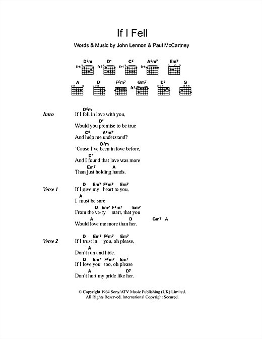 If I Fell (Guitar Chords/Lyrics)