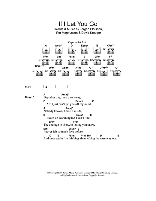 If I Let You Go (Lyrics & Chords)