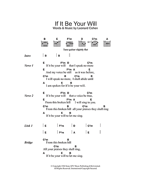 If It Be Your Will Sheet Music