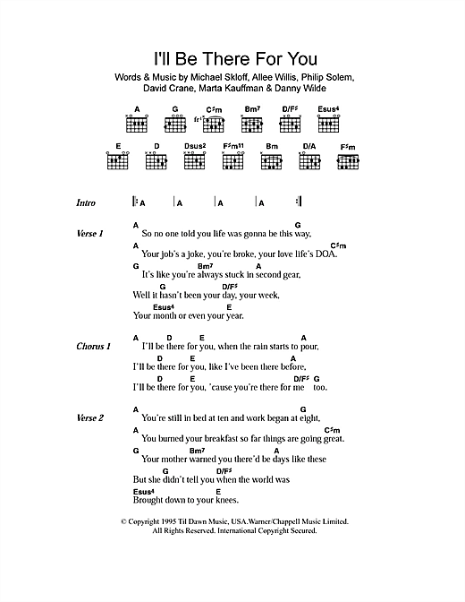 I'll Be There For You (theme from Friends) (Guitar Chords/Lyrics)