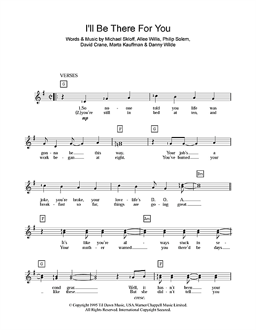 I'll Be There For You (theme from Friends) Sheet Music