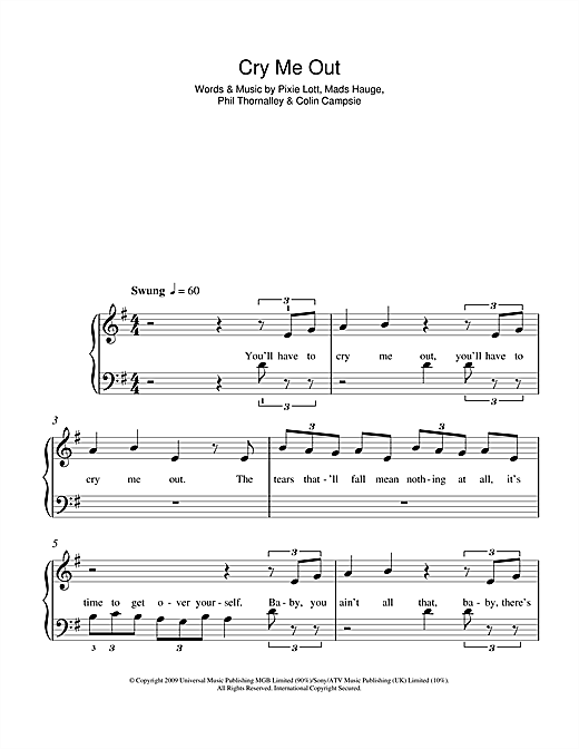Cry Me Out Sheet Music
