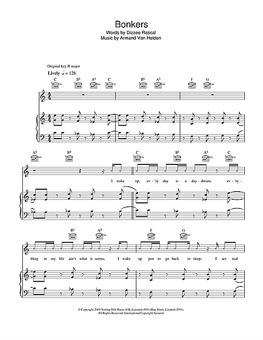 Bonkers (feat. Calvin Harris & Chrome) Sheet Music