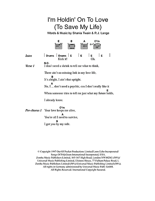 I'm Holdin' On To Love (To Save My Life) Sheet Music