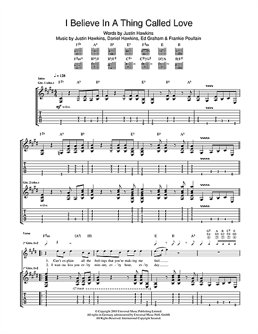I Believe In A Thing Called Love (Guitar Tab)
