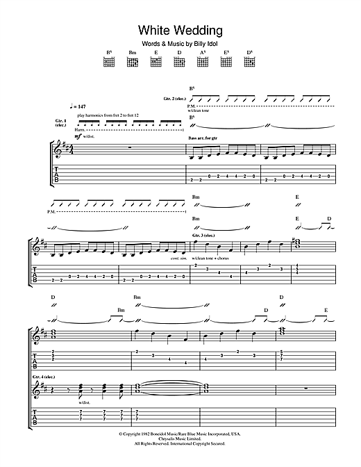 Tablature guitare White Wedding de Billy Idol - Tablature Guitare