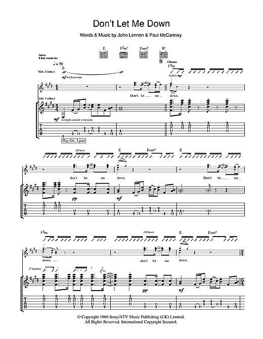 Tablature guitare Don't Let Me Down de The Beatles - Tablature Guitare
