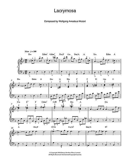 Partition piano Lacrymosa (from 'Requiem Mass') de Wolfgang Amadeus Mozart - Piano Facile