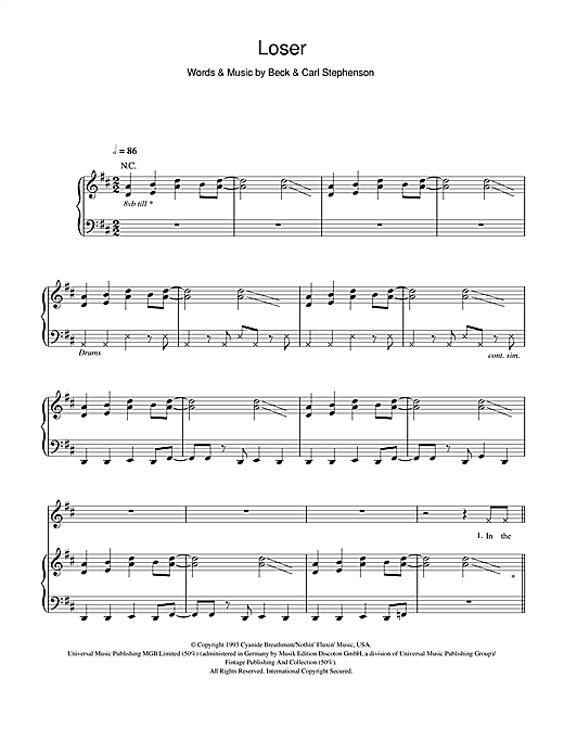 Loser Sheet Music