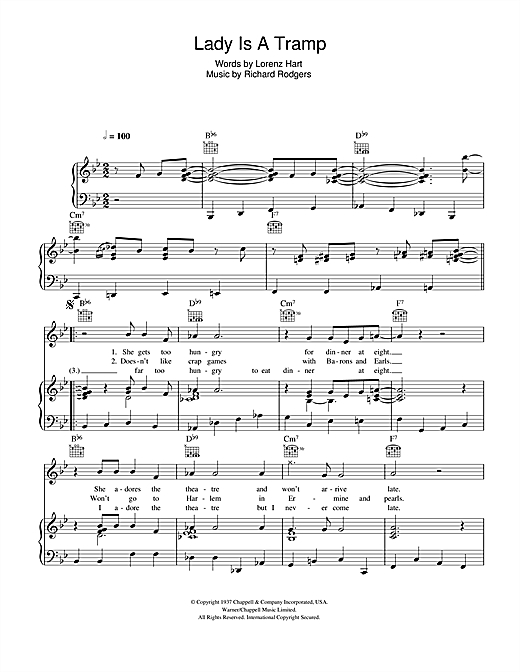 Partition piano The Lady Is A Tramp de Glee Cast - Piano Voix Guitare (Mélodie Main Droite)