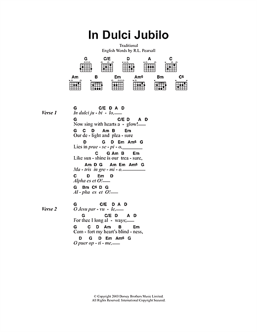 In Dulci Jubilo (Guitar Chords/Lyrics)