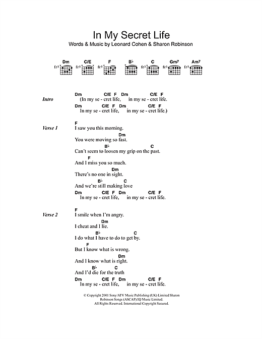 In My Secret Life (Guitar Chords/Lyrics)
