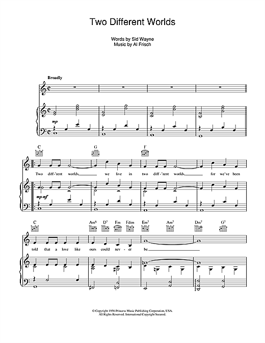 Two Different Worlds Sheet Music