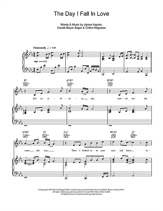 The Day I Fall In Love Sheet Music