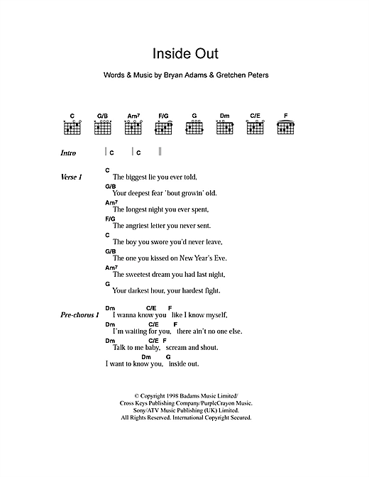 Inside Out sheet music by Bryan Adams (Lyrics & Chords – 103353)