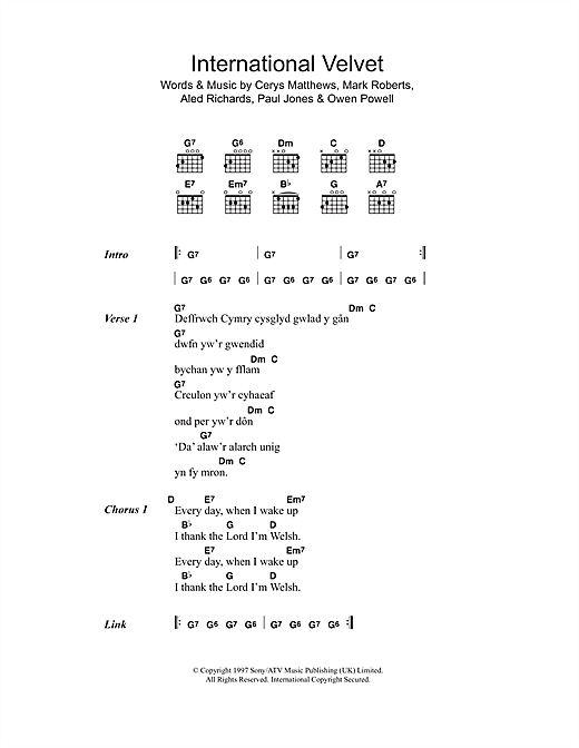 International Velvet (Guitar Chords/Lyrics)