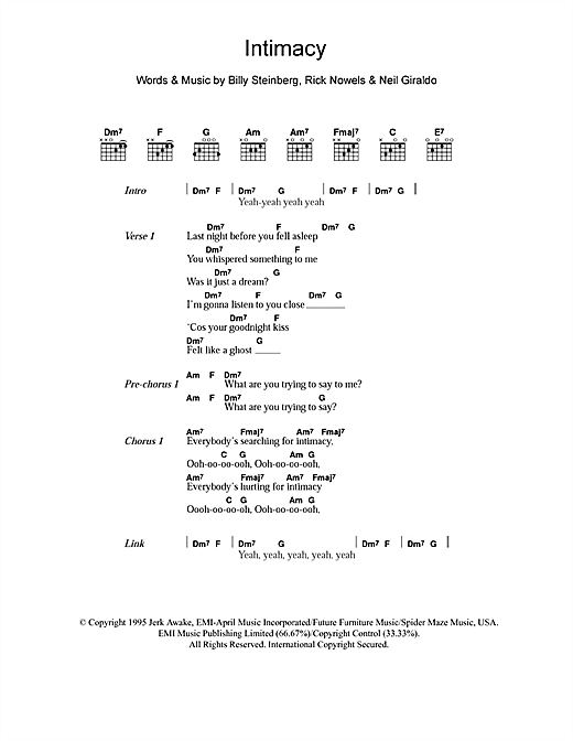 Intimacy sheet music by The Corrs (Lyrics & Chords – 103357)