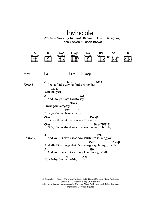 Invincible Sheet Music