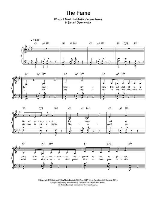 The Fame Sheet Music