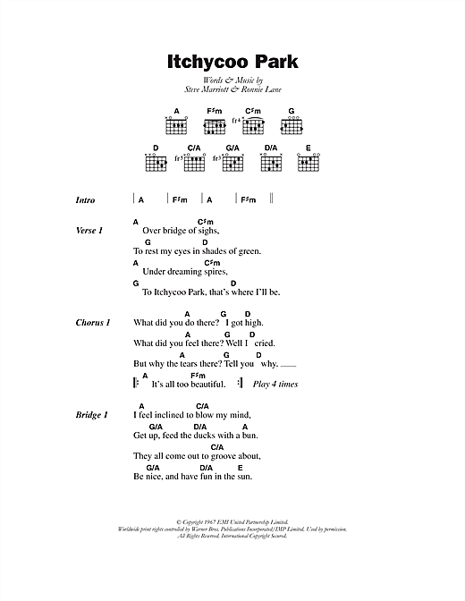 Itchycoo Park Sheet Music