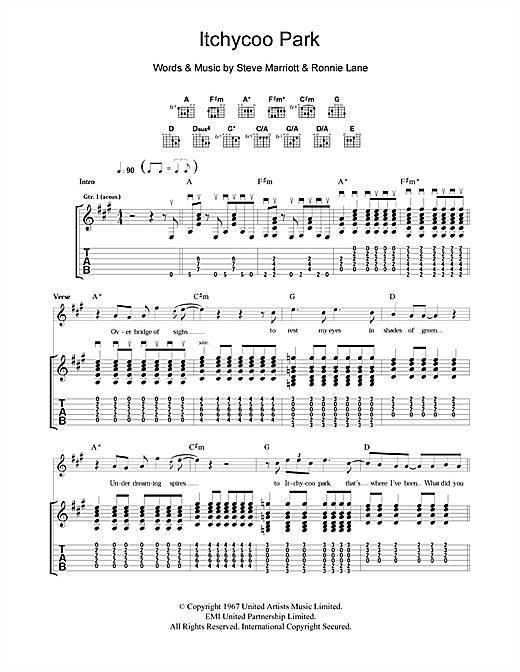 Tablature guitare Itchycoo Park de The Small Faces - Tablature Guitare