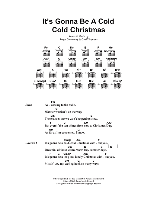 It's Gonna Be A Cold Cold Christmas Sheet Music