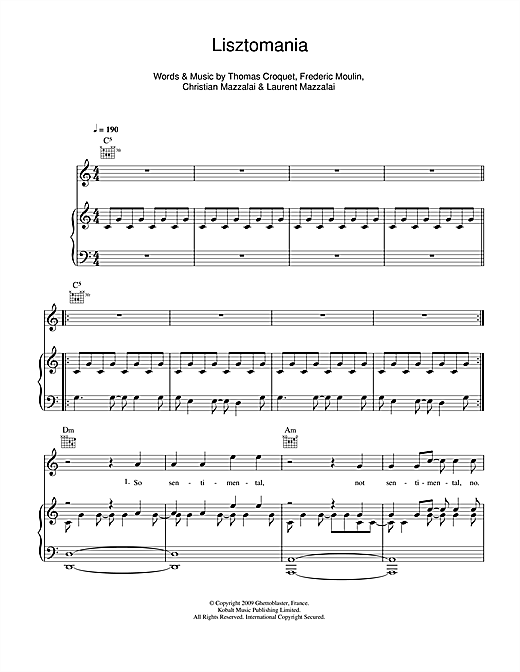 Lisztomania Sheet Music