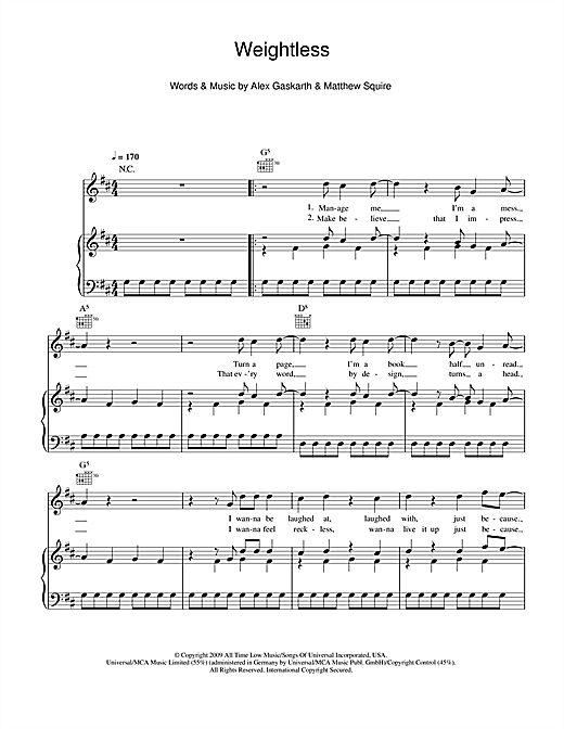 Weightless Sheet Music