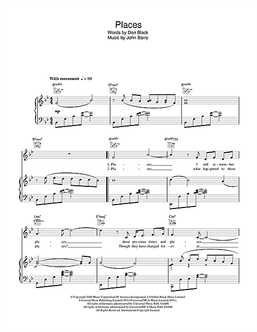 Places (Out Of Africa Theme) Sheet Music