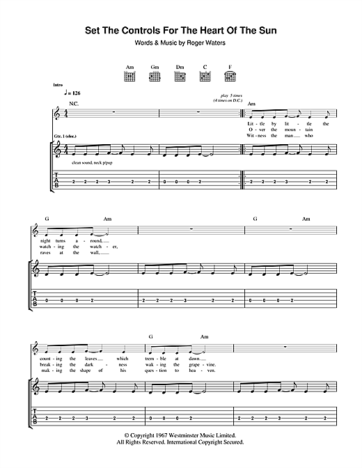 Tablature guitare Set The Controls For The Heart Of The Sun de Pink Floyd - Tablature Guitare