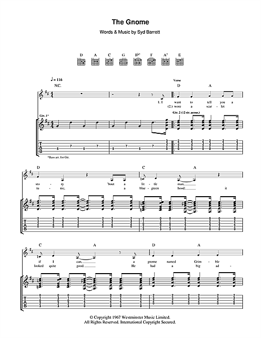 Tablature guitare The Gnome de Pink Floyd - Tablature Guitare