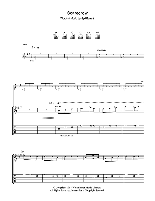 Tablature guitare Scarecrow de Pink Floyd - Tablature Guitare