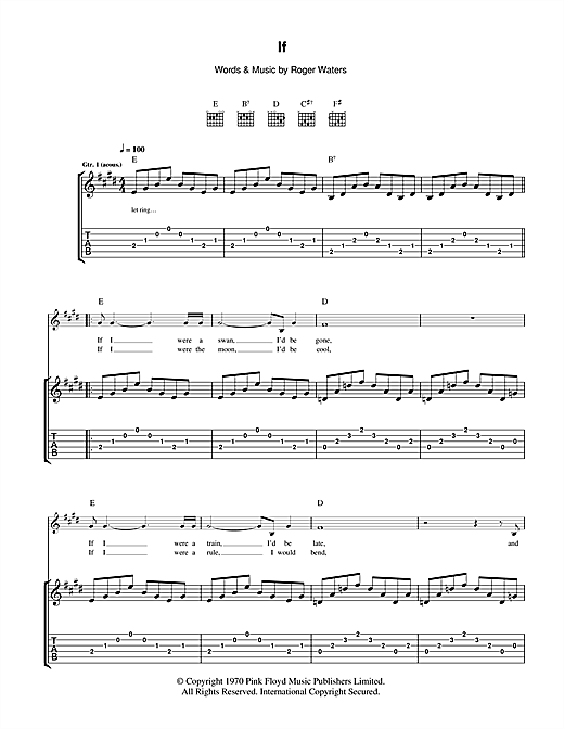 Tablature guitare If de Pink Floyd - Tablature Guitare