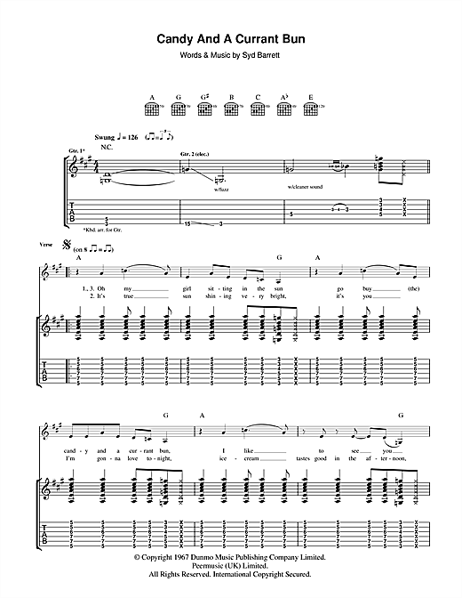 Tablature guitare Candy And A Currant Bun de Pink Floyd - Tablature Guitare