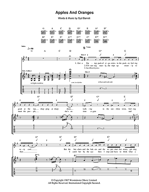 Tablature guitare Apples And Oranges de Pink Floyd - Tablature Guitare