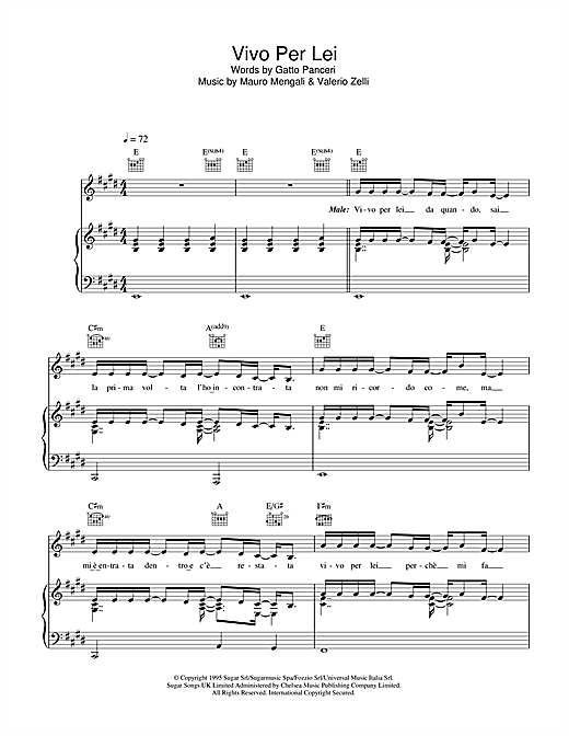 Vivo Per Lei (Piano, Vocal & Guitar (Right-Hand Melody))