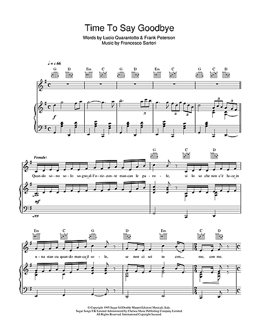 Time To Say Goodbye (Con Te Partirò) Sheet Music