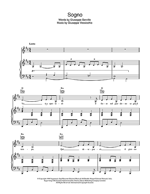Sogno Sheet Music