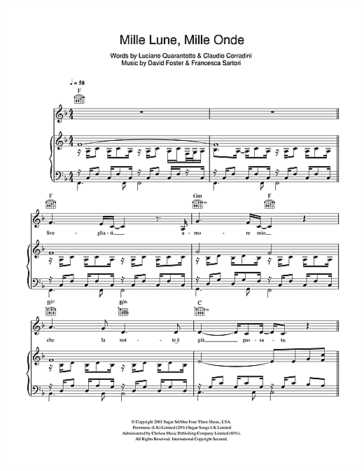 Mille Lune Mille Onde Sheet Music